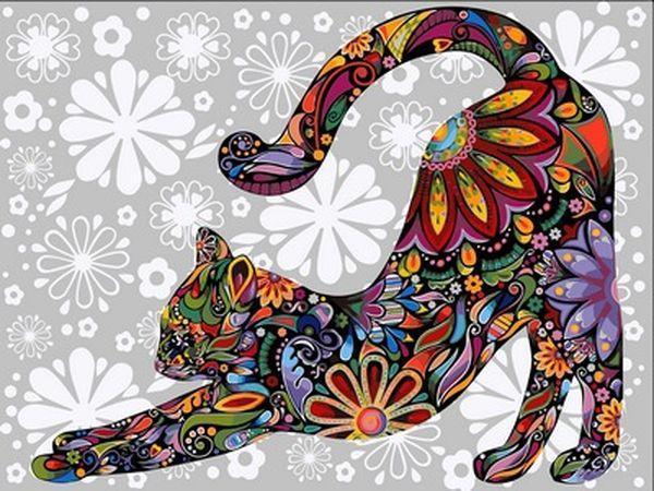 Раскраска по цифрам 40×50 см. Цветочная кошка