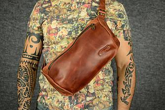 Мужская повседневная сумка-бананка |10159| Коньяк