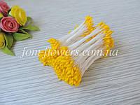 Тайские тычинки Ярко ЖЕЛТЫЕ каплевидные, на белой нити., фото 1