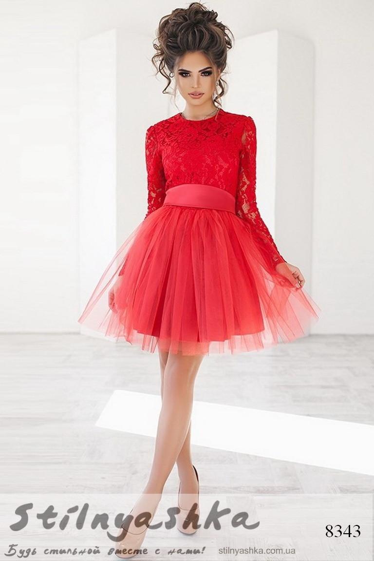 6be9caeb6d04e8b Гипюровое платье с фатиновой юбкой красное - Интернет-магазин