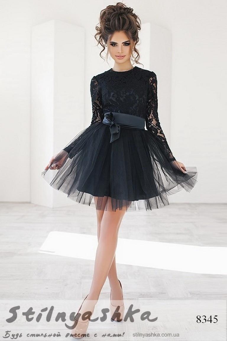 facc0df5b114378 Гипюровое платье с фатиновой юбкой черное - Интернет-магазин