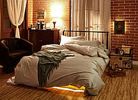 Полуторное постельное белье с простыню на резинке 90/200/25 - Сатин однотонный, Soft salmon, №169