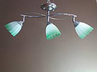 Люстра на 3  плафона 01616 зелёная