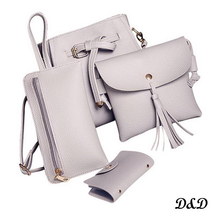Набор женских сумок светло-серый