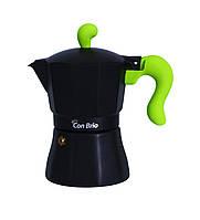Гейзерная кофеварка зеленая150 мл 3 порций Con Brio СВ-6603зел