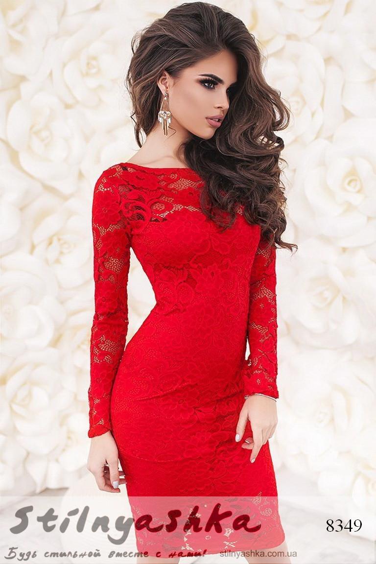 8d76b7fa79ea4a8 Облегающее гипюровое платье красное, цена 852 грн., купить в Киеве —  Prom.ua (ID#550629215)