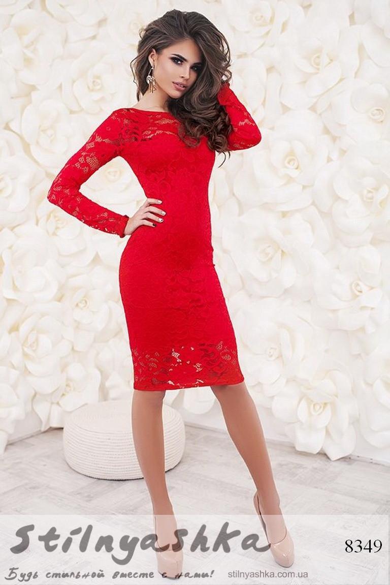 dbeb9fccc48e4e4 Облегающее гипюровое платье красное - Интернет-магазин