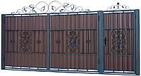 Кованые ворота и калитка В-12 с ПРОФНАСТИЛОМ