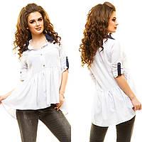Женская белая ассиметричная блуза-рубашка.