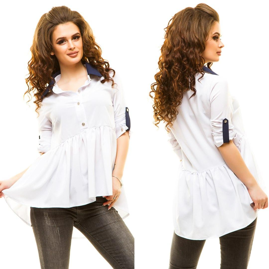 d719936e73d Женская белая ассиметричная блуза-рубашка.