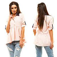Женская однотонная ассиметричная блуза-рубашка.