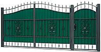 Кованые ворота и калитка ВД-12 с ПРОФНАСТИЛОМ