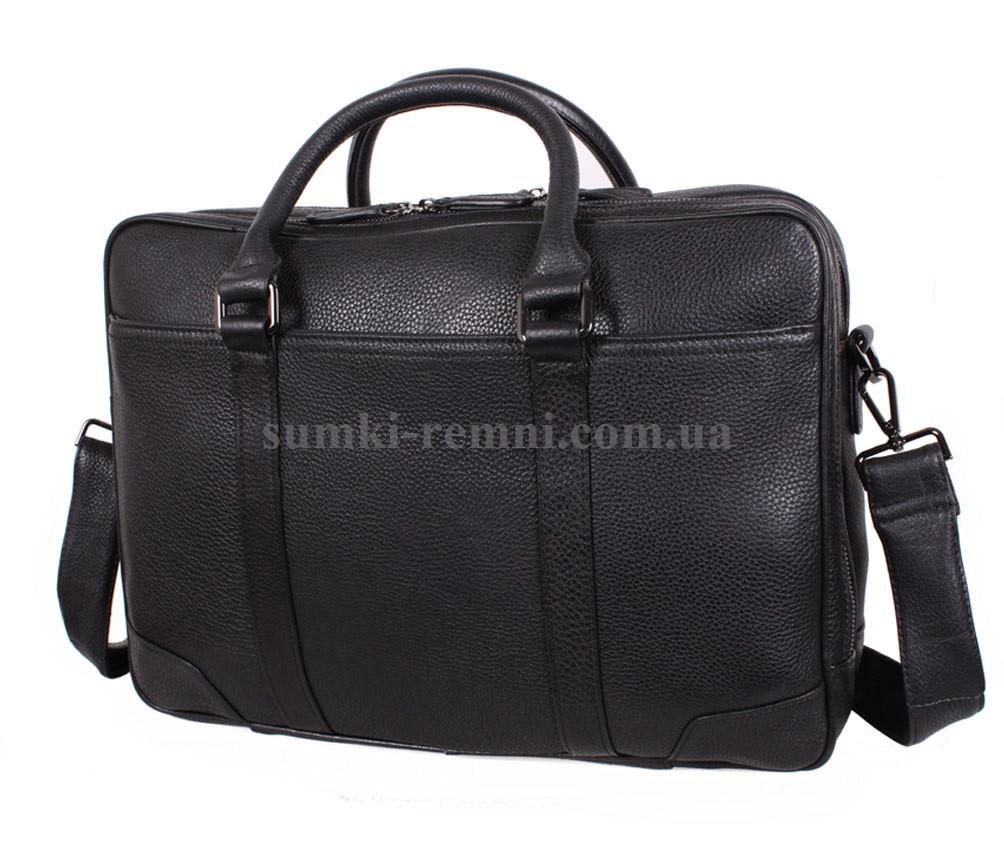 Черная кожаная сумка с отделением под ноутбук