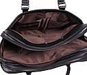 Черная кожаная сумка с отделением под ноутбук, фото 9