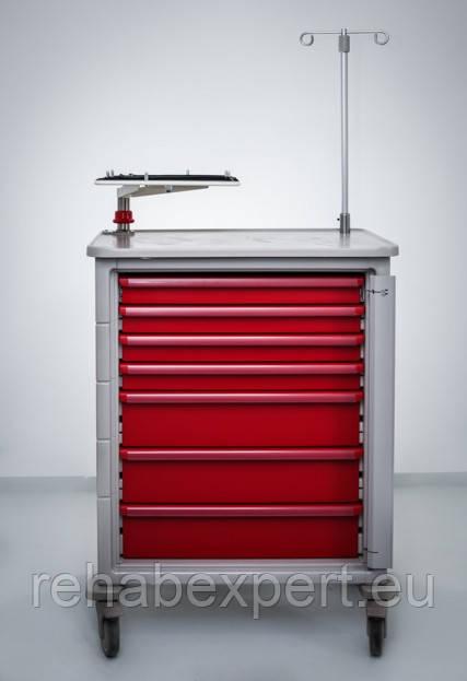 Передвижная тележка с тумбочкой для анестезиолога. Herman Miller Ct 142 Emergency Cart