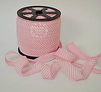 Косая бейка из хлопка для окантовки с тонкой светло-розовой полоской