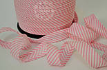 Косая бейка из хлопка для окантовки с тонкой светло-розовой полоской, фото 2
