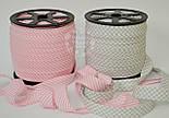 Косая бейка из хлопка для окантовки с тонкой светло-розовой полоской, фото 3