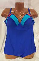 РАСПРОДАЖА  Универсальный  Цельный купальник  модного синего цвета  ( индиго ) для полных  по низкой цене
