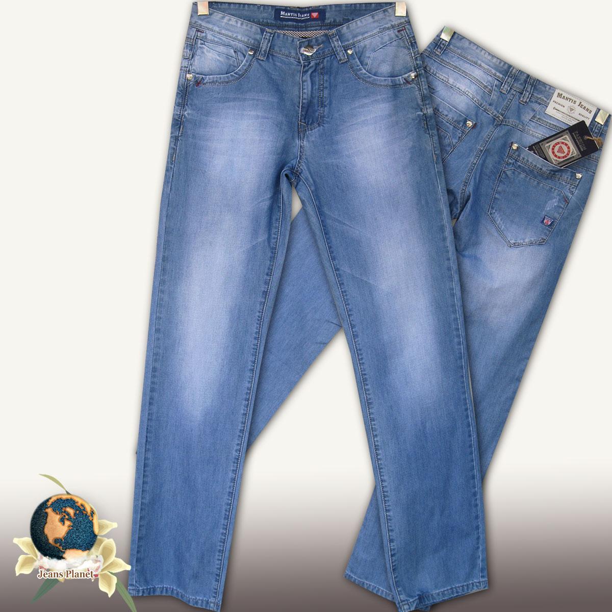 Джинси чоловічі класичні літні Mantis Jeans блакитного кольору