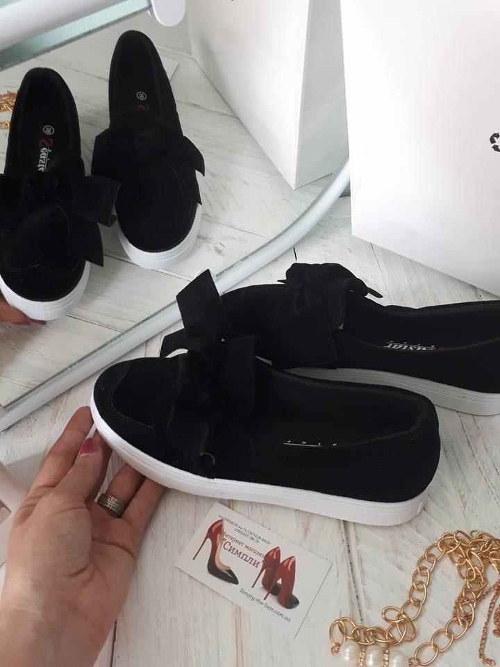 """Хит продаж!! Слипоны с модным бантом,цвет черные,серый,пудра,белый,олива - интернет-магазин """"Симпли"""" в Киеве"""