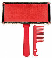 Пуходерка+расческа Trixie Soft Brush для собак, дерево, 11х14 см, фото 1