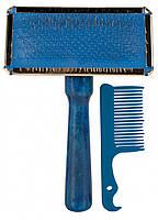 Пуходерка+расческа Trixie Soft Brush для собак, дерево, 9х13 см