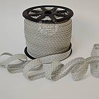 Косая бейка из хлопка  для окантовки с белыми точками на сером фоне