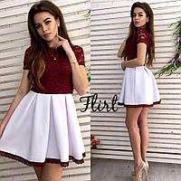 36fd2eddeea Платье комбинированное верх гипюр юбка пышная дайвинг