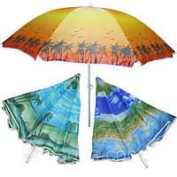 Зонтик пляжный с наклоном, ткань с защитой от УФ излучения. 1,8 метра диаметр купол. Яркие цвета