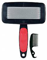 Пуходерка+расческа Trixie Soft Brush для собак, пластик, 11х16 см