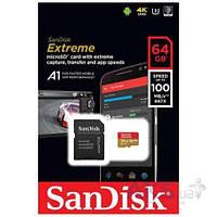 Карта памяти SanDisk microSDXC Extreme 64GB V30 A1 UHS-I U3 R100/W60MB/s 4K (с адаптером) (SDSQXAF-064G-GN6MA)