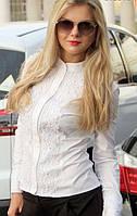 Женская нарядная  белая блуза с кружевом