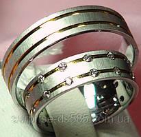 Кольцо обручальное 585 рпобы из белого и лимонного золота с фианитами