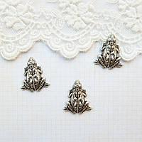 "Латунный штамп ""Лягушка"" посеребренный, 19*17 мм"