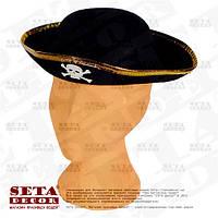 """Детская шляпа треуголка """"Пират"""" с золотистой каймой карнавальная"""