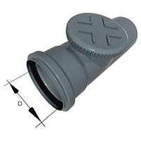 Ревизия 110 ПП Европласт с раструбом и уплотнительным кольцом для внутренней канализации серая