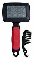 Пуходерка+расческа Trixie Soft Brush для собак, пластик, 7х13 см