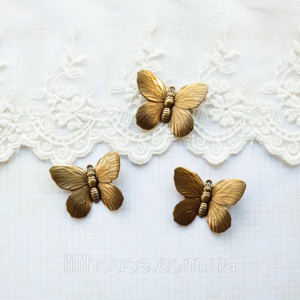 """Латунный штамп """"Бабочка"""" 30*24 мм, бронза"""