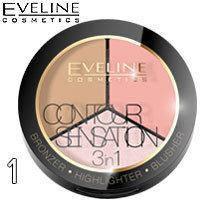 Палитра для макияжа 3 в 1 бронзер + хайлайтер + румяна Eveline Contour Sensation Тон 01 Pink Beige