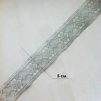 Тесьма церковная, галун 5 см. в мотке 5 м. белый с серебром
