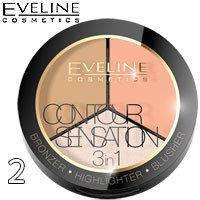 Палитра для макияжа 3 в 1 бронзер + хайлайтер + румяна Eveline Contour Sensation Тон 02 Peach Beige
