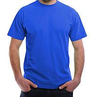 Синяя футболка мужская спортивная летняя без рисунка прямая трикотажная хб (Украина)