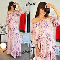 Платье яркое макси с открытыми плечами и оборкой по низу шелк 3 расцветки 2SMmil1564
