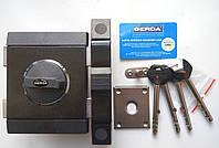 Замок накладной Gerda Tytan ZX GT8 графит длинный ключ (Польша)