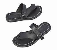 Летние черные мужские кожаные вьетнамки SAV (новинки лето 2017)