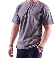 Серая футболка мужская спортивная летняя больших размеров без рисунка прямая трикотажная хб (Украина)
