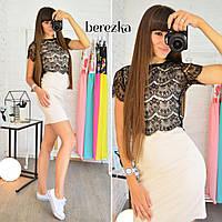 Женский стильный комплект с кружевным топом: топ и платье (3 цвета)