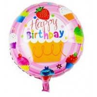 Шар наполненный гелием Воздушный шар Круг  Happy Bithday Пирожное с клубничкой