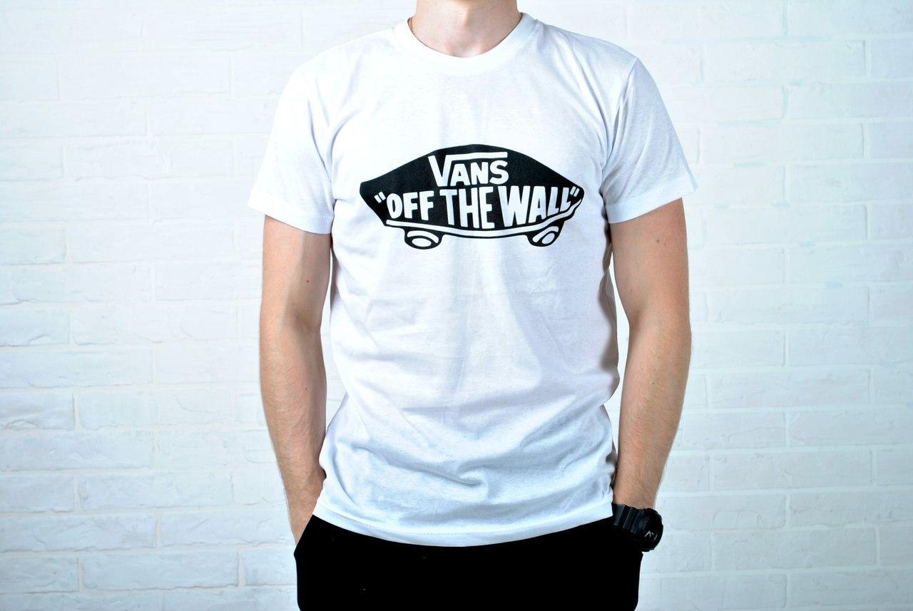 Белая мужская футболка ванс (Vans)